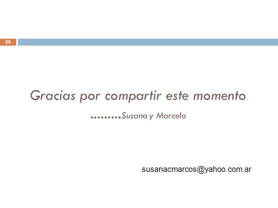 Gracias por compartir este momento .........Susana y Marcelo