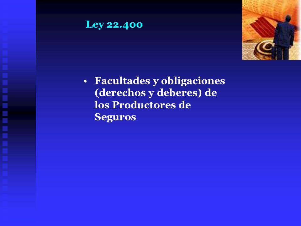 Ley 22.400 Facultades y obligaciones (derechos y deberes) de los Productores de Seguros