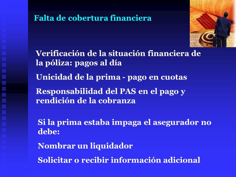 Falta de cobertura financiera