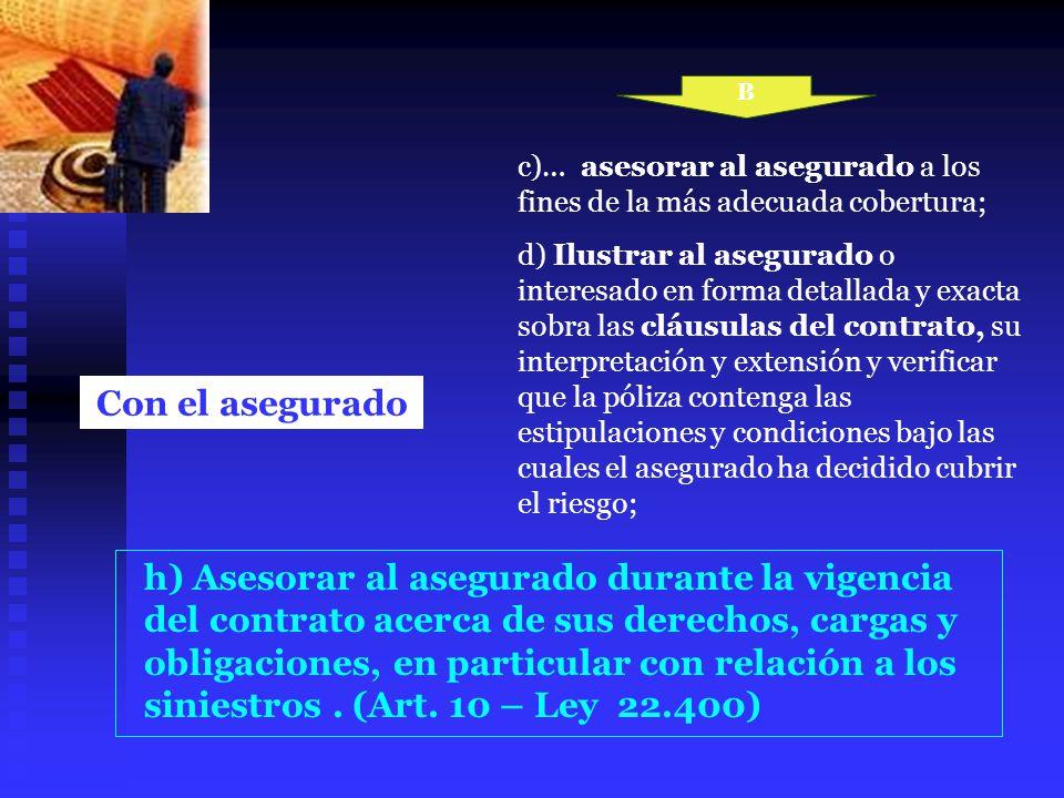 B c)… asesorar al asegurado a los fines de la más adecuada cobertura;
