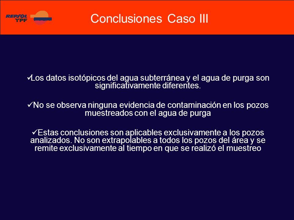 Conclusiones Caso III Los datos isotópicos del agua subterránea y el agua de purga son significativamente diferentes.