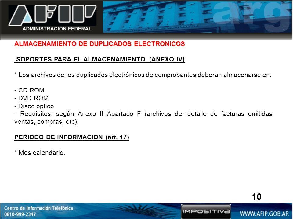 10 ALMACENAMIENTO DE DUPLICADOS ELECTRONICOS