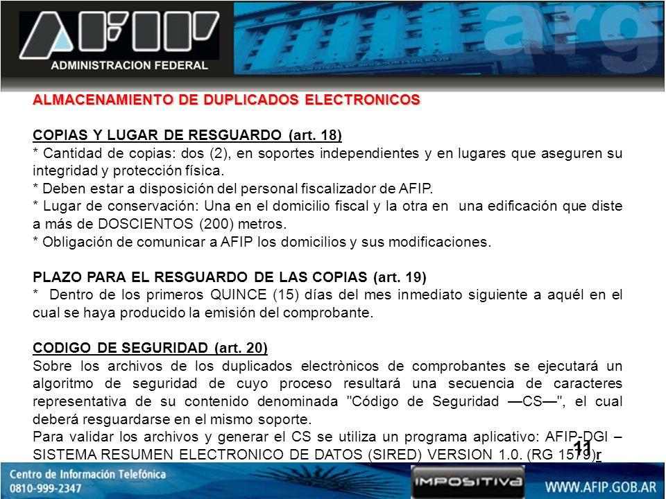11 ALMACENAMIENTO DE DUPLICADOS ELECTRONICOS