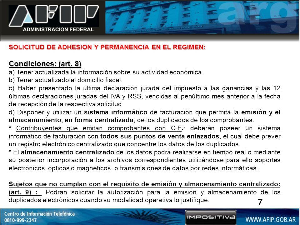 SOLICITUD DE ADHESION Y PERMANENCIA EN EL REGIMEN: