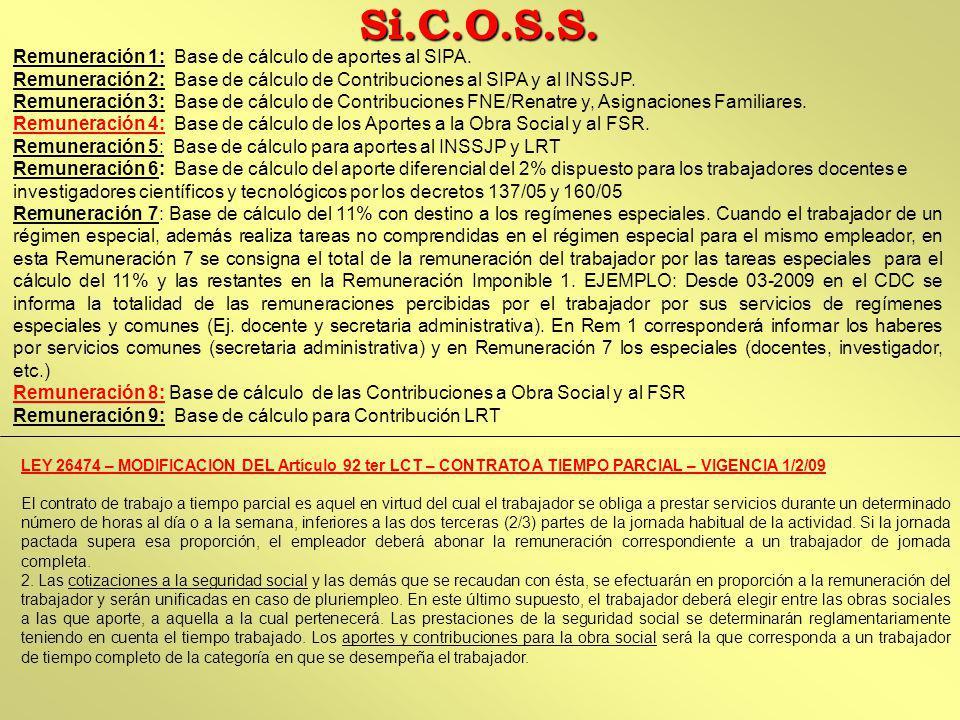 Si.C.O.S.S. Remuneración 1: Base de cálculo de aportes al SIPA.