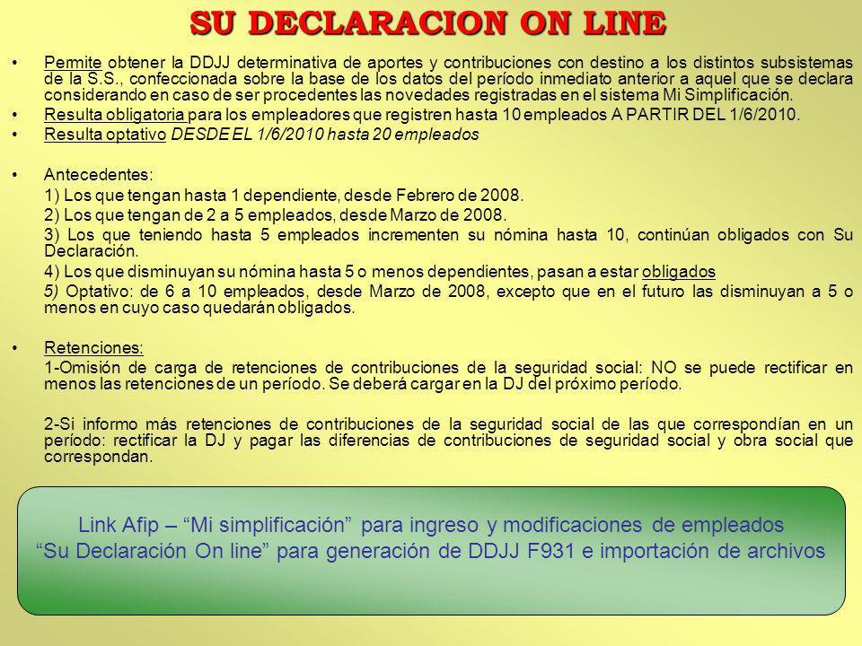 SU DECLARACION ON LINE
