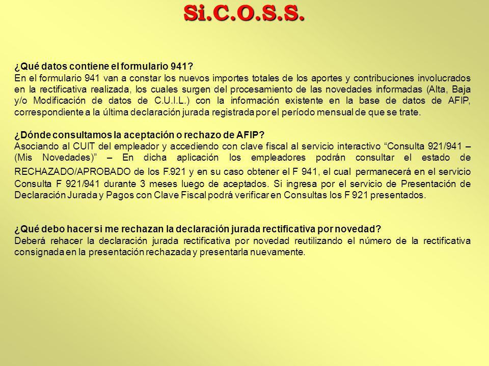 Si.C.O.S.S. ¿Qué datos contiene el formulario 941