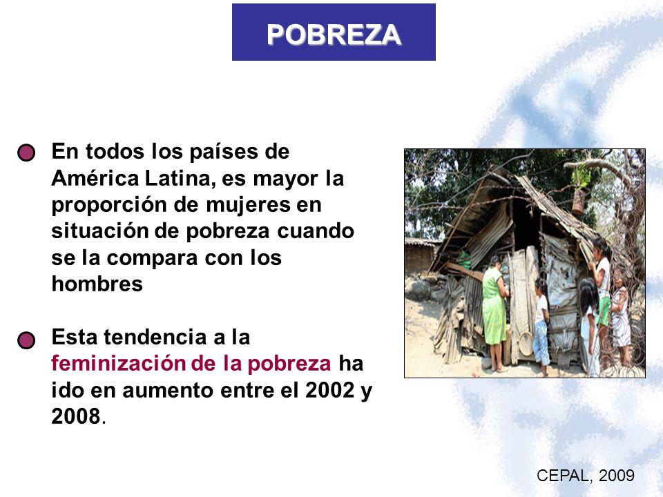 POBREZA En todos los países de América Latina, es mayor la proporción de mujeres en situación de pobreza cuando se la compara con los hombres.