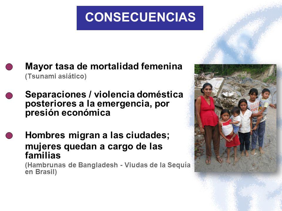 CONSECUENCIAS Mayor tasa de mortalidad femenina