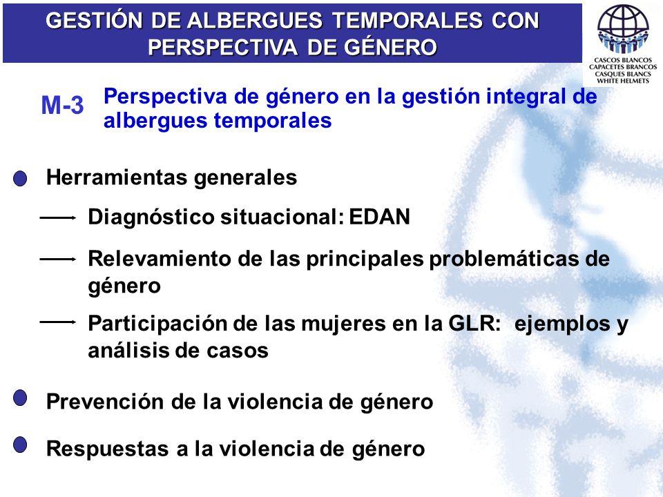 GESTIÓN DE ALBERGUES TEMPORALES CON PERSPECTIVA DE GÉNERO