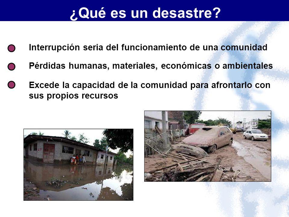 ¿Qué es un desastre Interrupción seria del funcionamiento de una comunidad. Pérdidas humanas, materiales, económicas o ambientales.