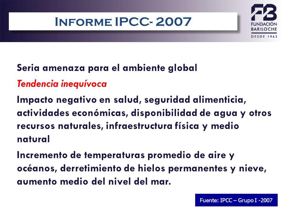 Informe IPCC- 2007 Seria amenaza para el ambiente global