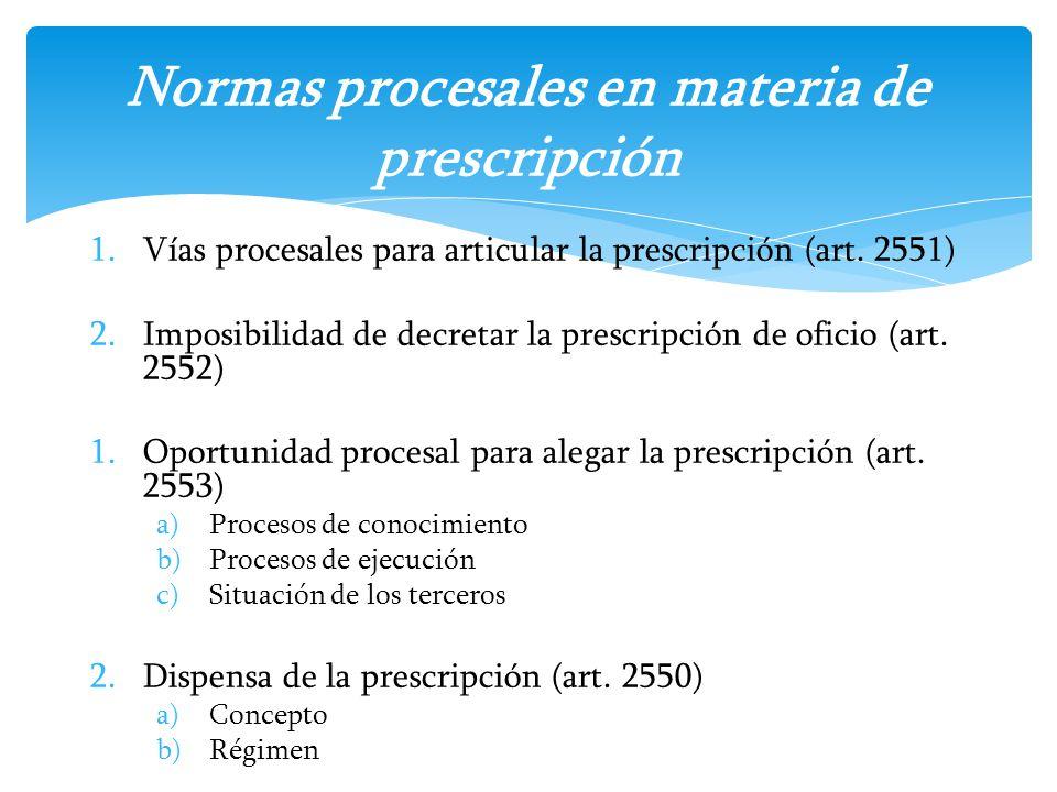 Normas procesales en materia de prescripción