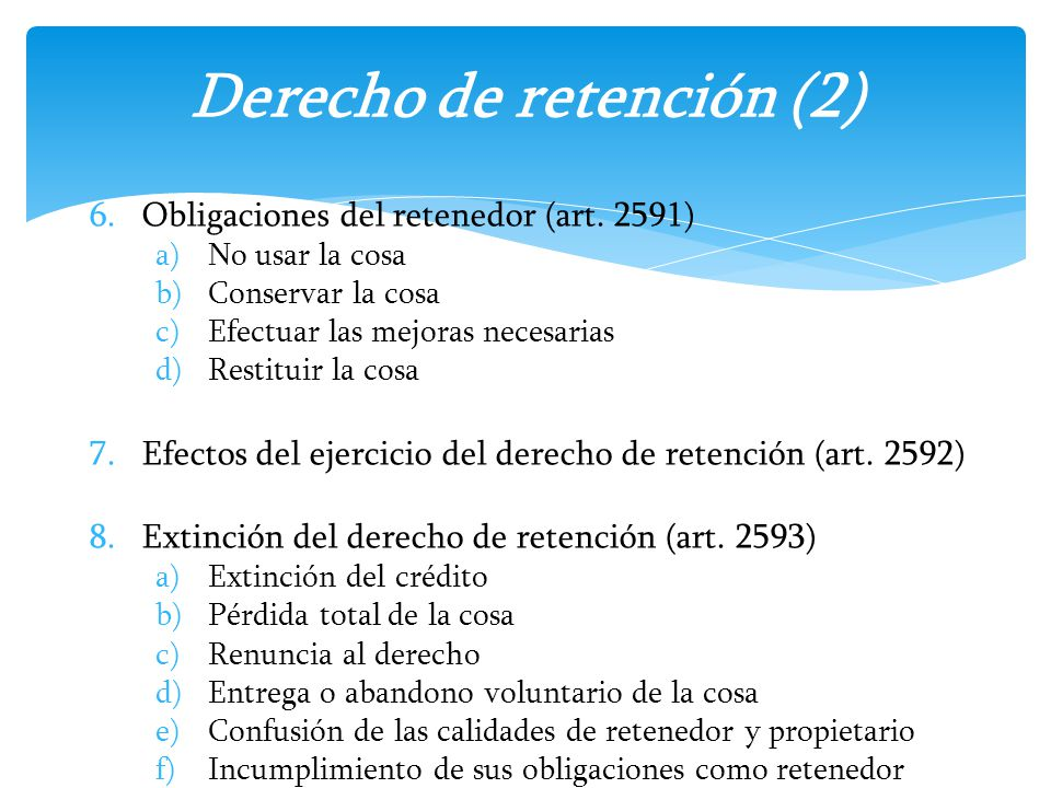 Derecho de retención (2)