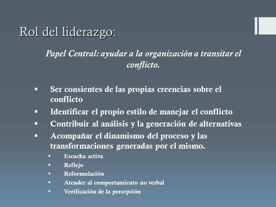 Papel Central: ayudar a la organización a transitar el conflicto.