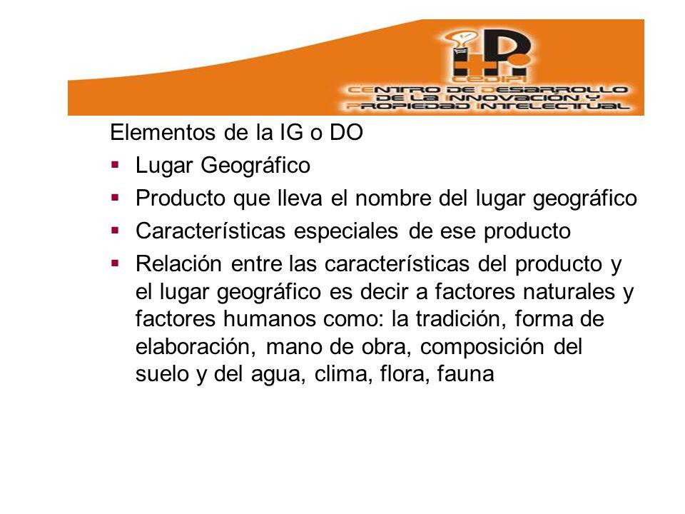 Elementos de la IG o DO Lugar Geográfico. Producto que lleva el nombre del lugar geográfico. Características especiales de ese producto.