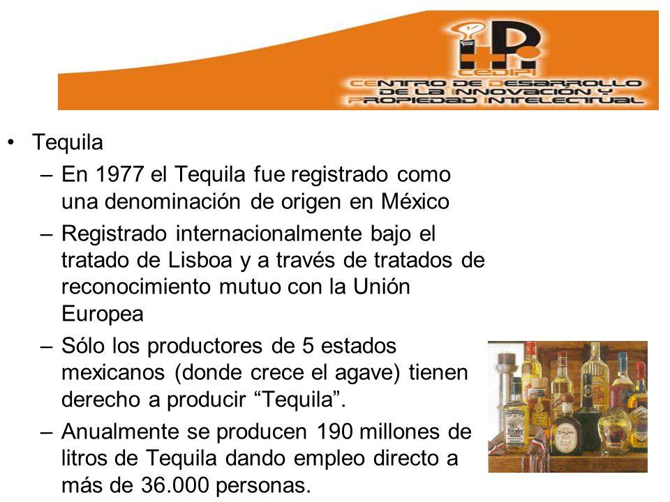 Tequila En 1977 el Tequila fue registrado como una denominación de origen en México.