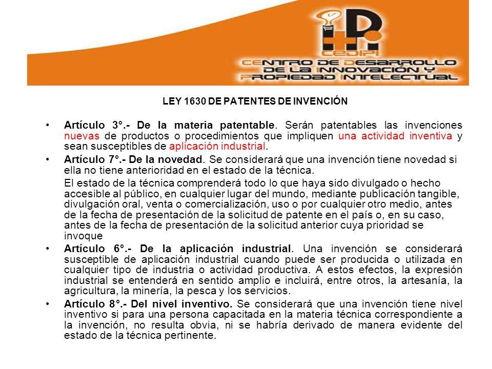 LEY 1630 DE PATENTES DE INVENCIÓN