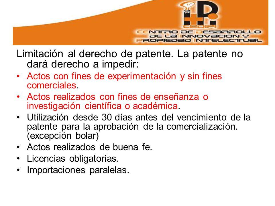 Limitación al derecho de patente. La patente no dará derecho a impedir: