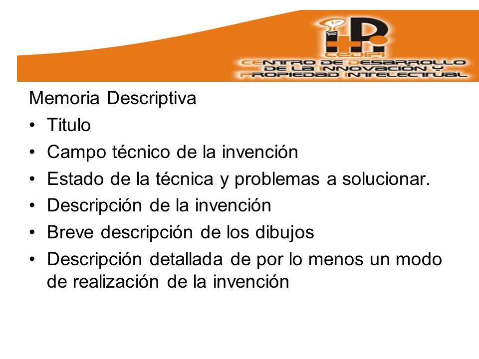 Memoria Descriptiva Titulo. Campo técnico de la invención. Estado de la técnica y problemas a solucionar.