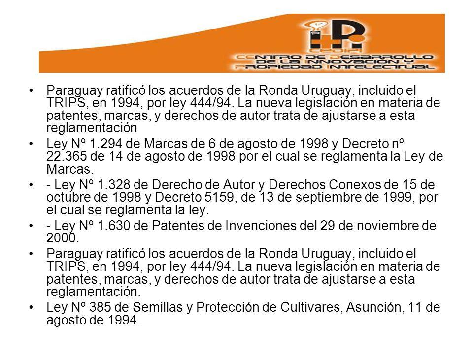 Paraguay ratificó los acuerdos de la Ronda Uruguay, incluido el TRIPS, en 1994, por ley 444/94. La nueva legislación en materia de patentes, marcas, y derechos de autor trata de ajustarse a esta reglamentación