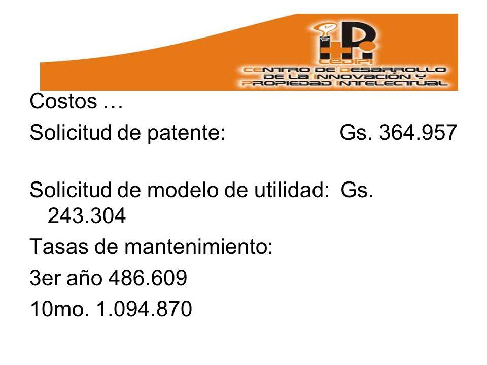 Costos … Solicitud de patente: Gs. 364.957. Solicitud de modelo de utilidad: Gs. 243.304.