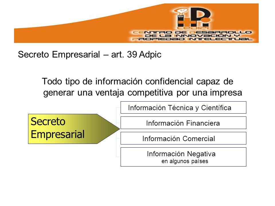 Secreto Empresarial Secreto Empresarial – art. 39 Adpic