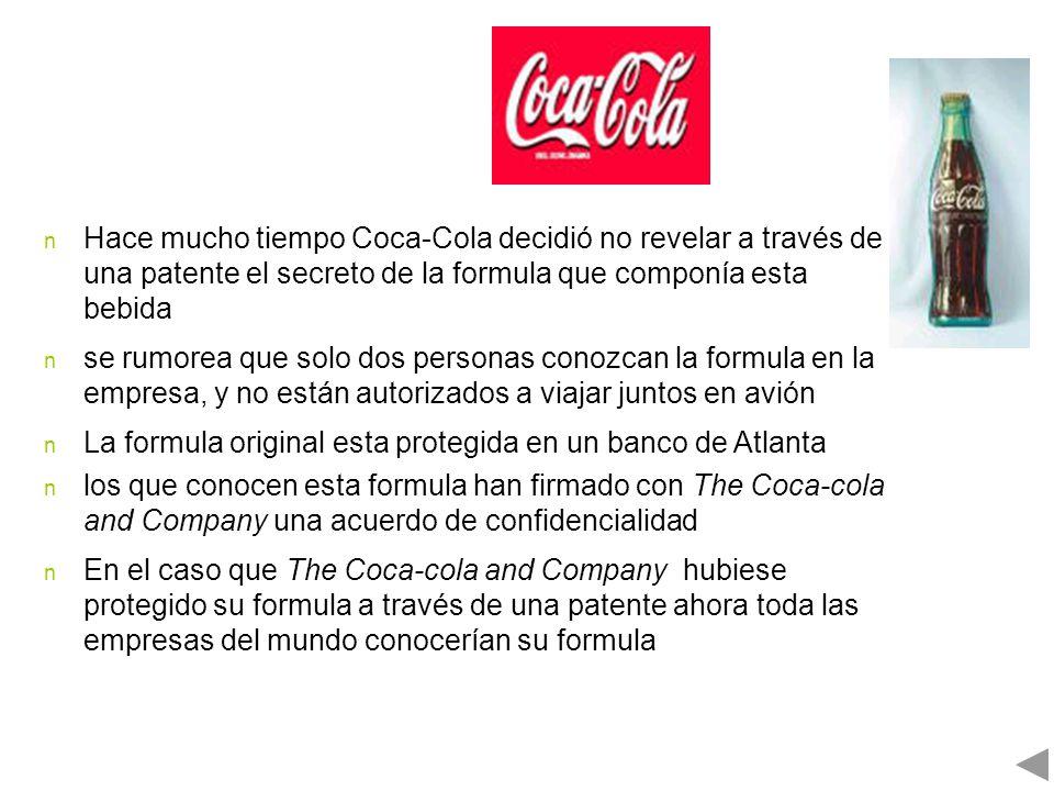 Hace mucho tiempo Coca-Cola decidió no revelar a través de una patente el secreto de la formula que componía esta bebida