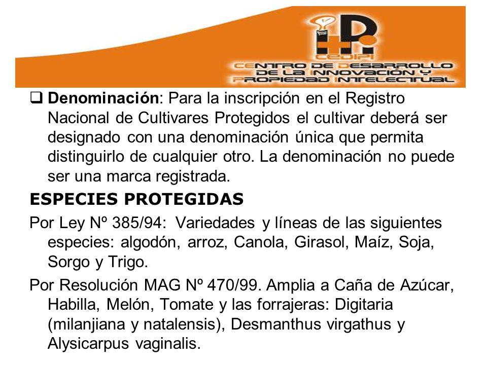 Denominación: Para la inscripción en el Registro Nacional de Cultivares Protegidos el cultivar deberá ser designado con una denominación única que permita distinguirlo de cualquier otro. La denominación no puede ser una marca registrada.