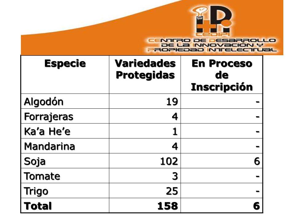 Variedades Protegidas En Proceso de Inscripción