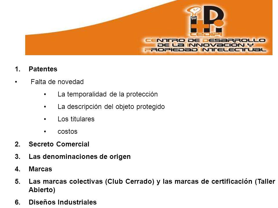Patentes Falta de novedad. La temporalidad de la protección. La descripción del objeto protegido.