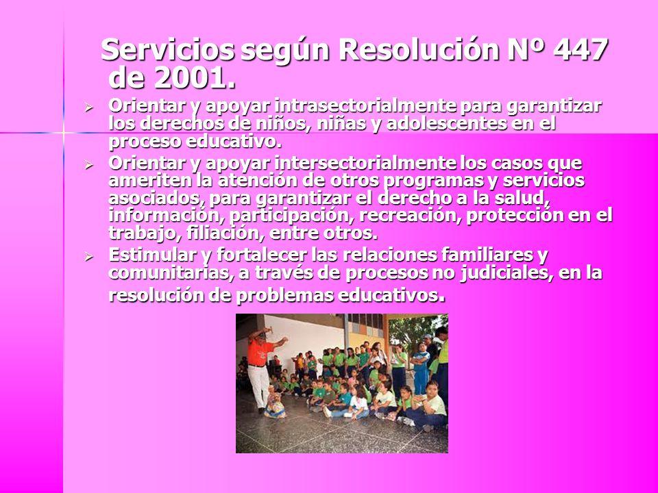 Servicios según Resolución Nº 447 de 2001.