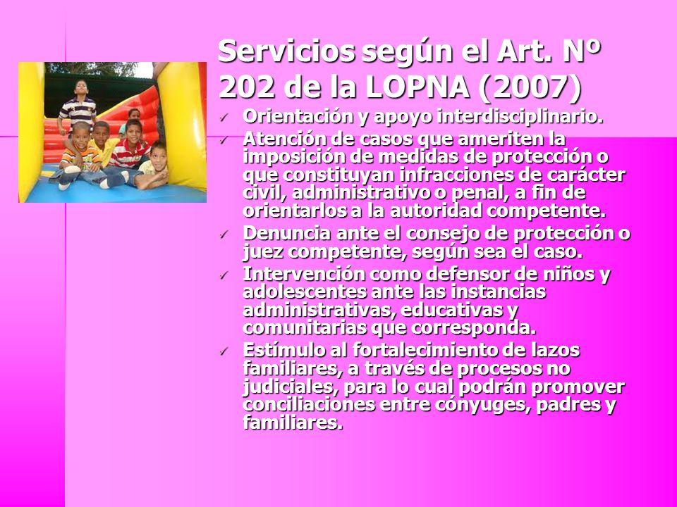 Servicios según el Art. Nº 202 de la LOPNA (2007)