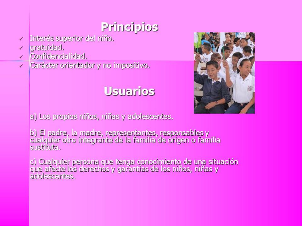 Principios Usuarios Interés superior del niño. gratuidad.