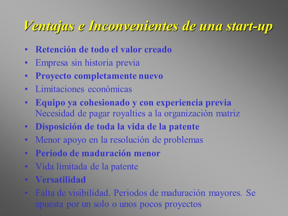 Ventajas e Inconvenientes de una start-up
