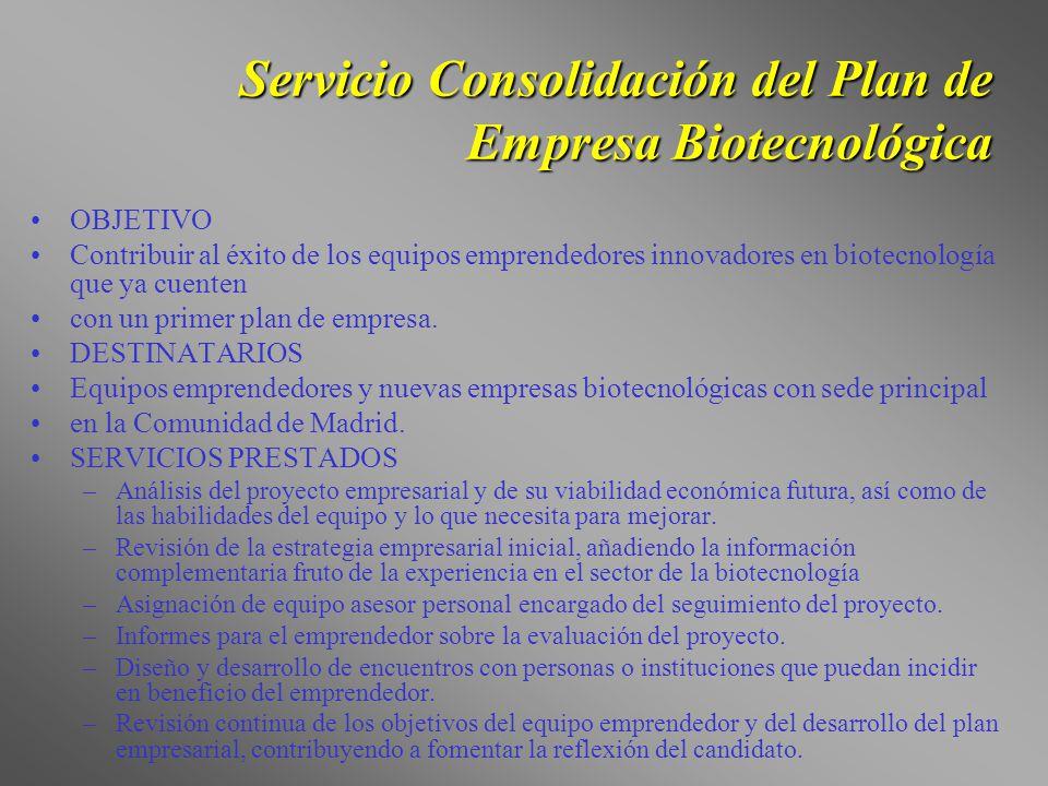 Servicio Consolidación del Plan de Empresa Biotecnológica