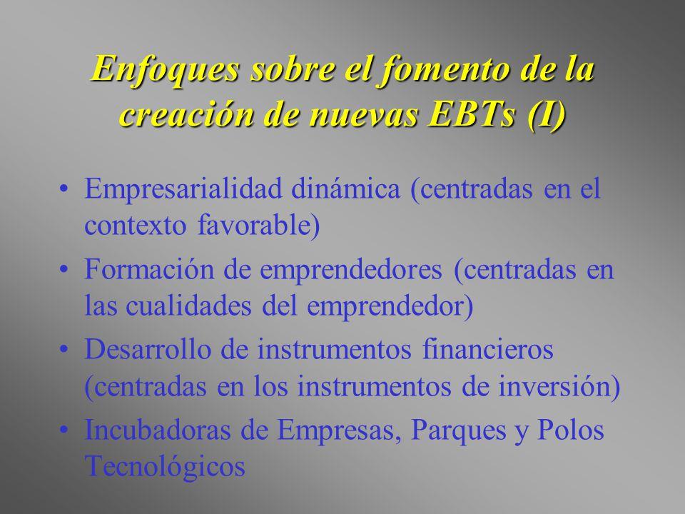 Enfoques sobre el fomento de la creación de nuevas EBTs (I)