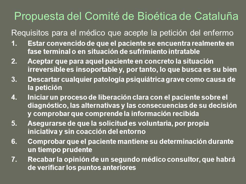 Propuesta del Comité de Bioética de Cataluña