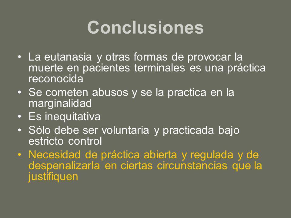 Conclusiones La eutanasia y otras formas de provocar la muerte en pacientes terminales es una práctica reconocida.