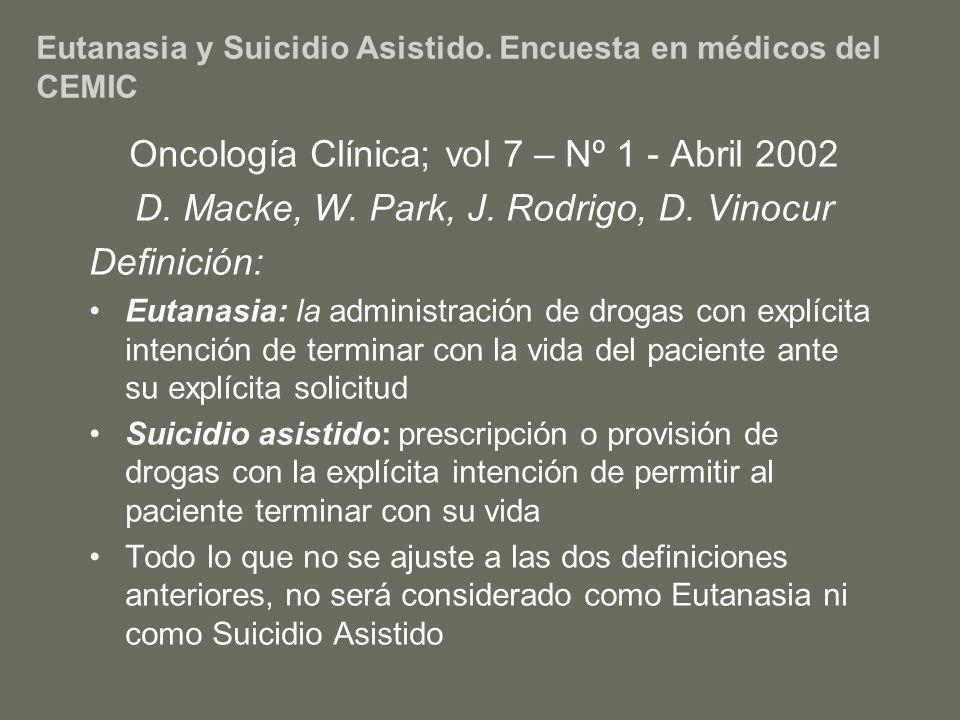 Eutanasia y Suicidio Asistido. Encuesta en médicos del CEMIC