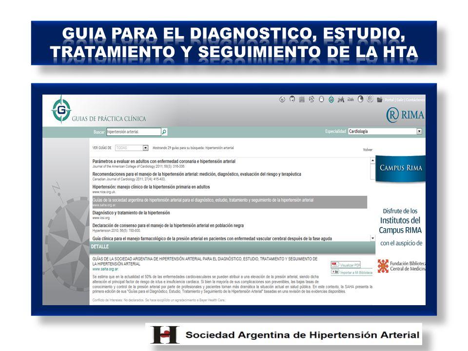 GUIA PARA EL DIAGNOSTICO, ESTUDIO, TRATAMIENTO Y SEGUIMIENTO DE LA HTA