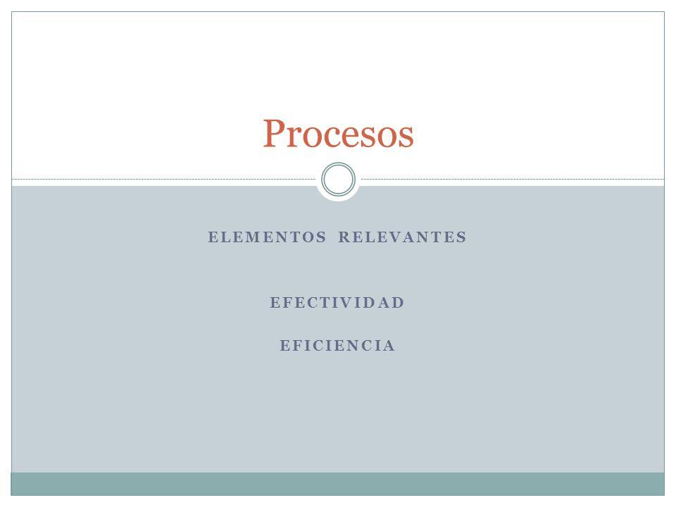 Elementos relevantes EFECTIVIDAD EFICIENCIA