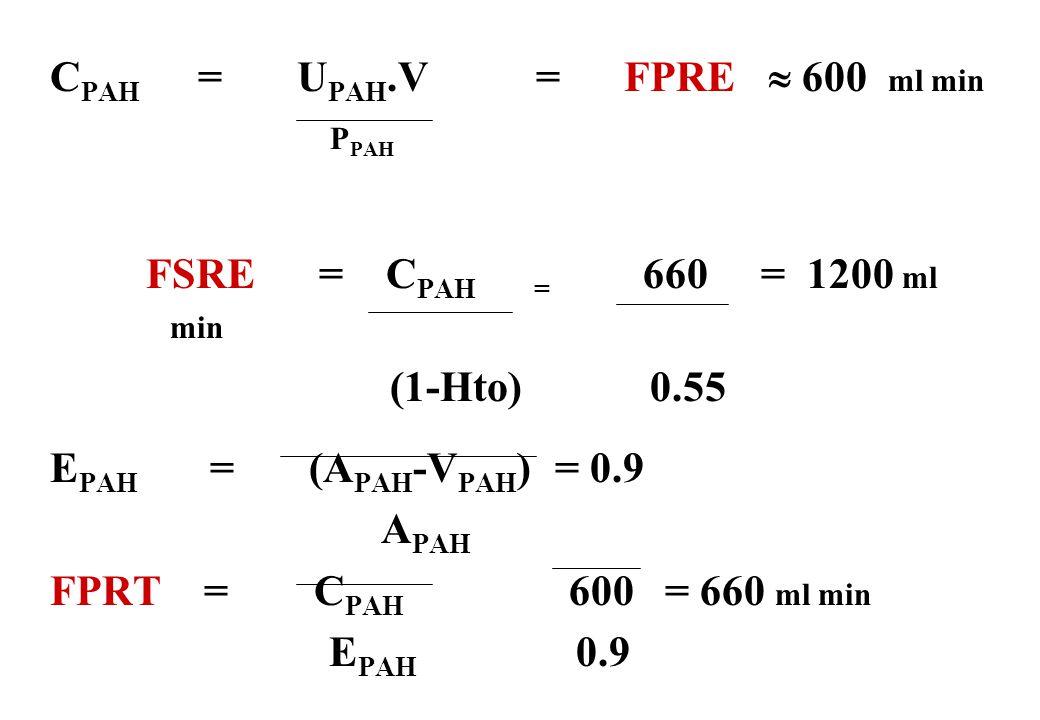 CPAH = UPAH.V = FPRE  600 ml min