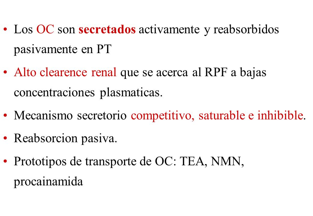 Los OC son secretados activamente y reabsorbidos pasivamente en PT