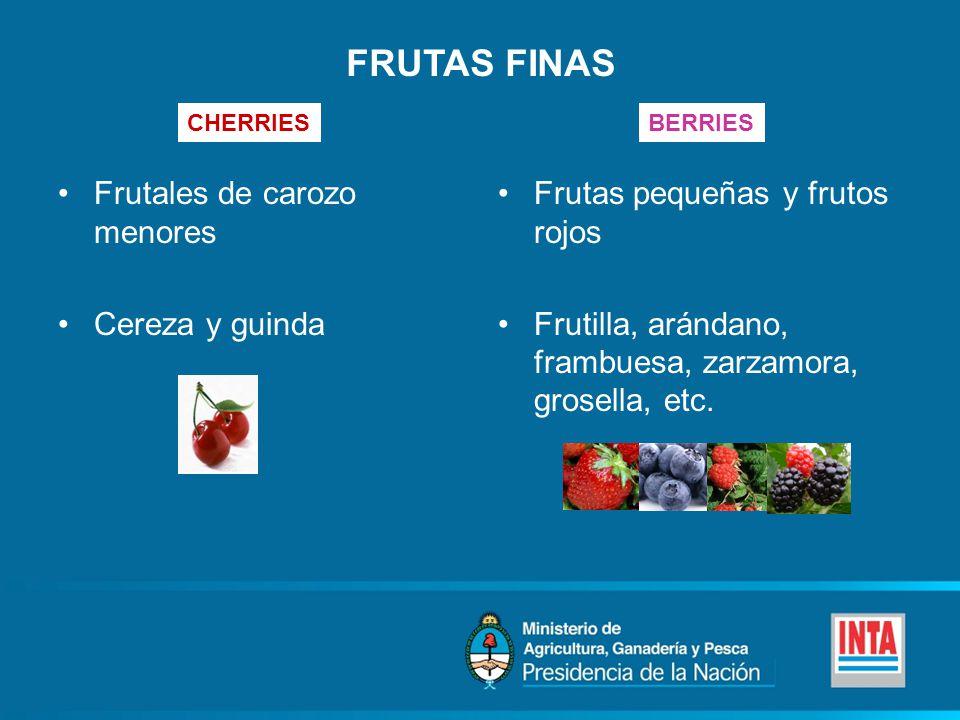 FRUTAS FINAS Frutales de carozo menores Cereza y guinda