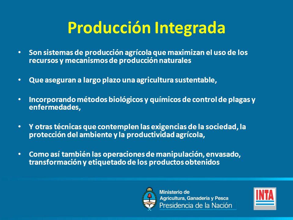 Producción Integrada Son sistemas de producción agrícola que maximizan el uso de los recursos y mecanismos de producción naturales.