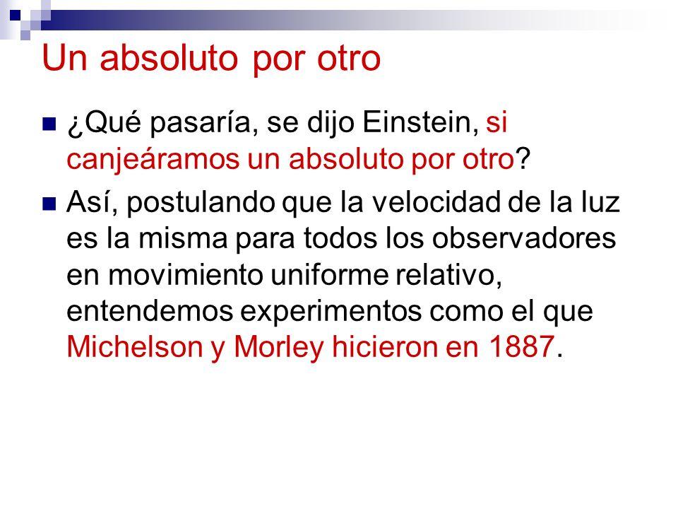 Un absoluto por otro ¿Qué pasaría, se dijo Einstein, si canjeáramos un absoluto por otro