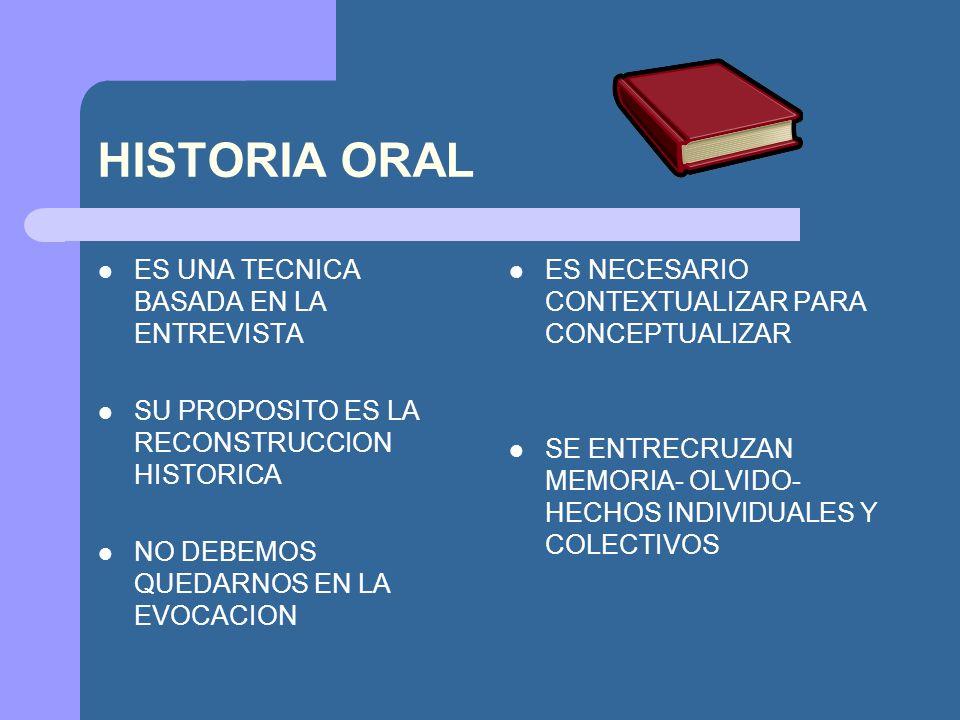 HISTORIA ORAL ES UNA TECNICA BASADA EN LA ENTREVISTA