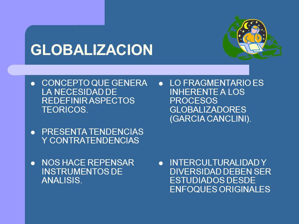 GLOBALIZACION CONCEPTO QUE GENERA LA NECESIDAD DE REDEFINIR ASPECTOS TEORICOS. PRESENTA TENDENCIAS Y CONTRATENDENCIAS.