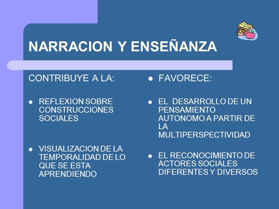 NARRACION Y ENSEÑANZA CONTRIBUYE A LA: FAVORECE:
